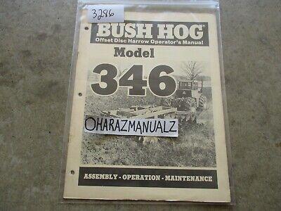 Bush Hog Model 346 Offset Disc Harrow Operators Manual