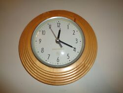 Khaki Casuals Wooden Wall Clock works Great 9 Diameter Battery Operated