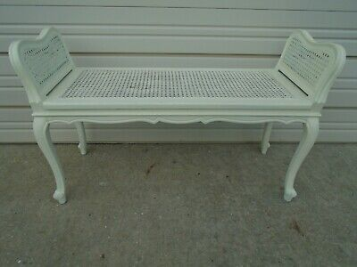 TL French Bench Bed End Wicker Cane Rattan Louis XVII Country Provincial Shabby -