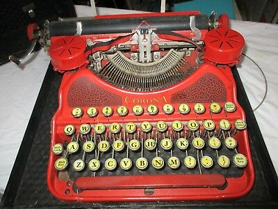 Vintage L.C. Smith Corona Red Typewriter W/case,Great Condition,NO-RESERVE!