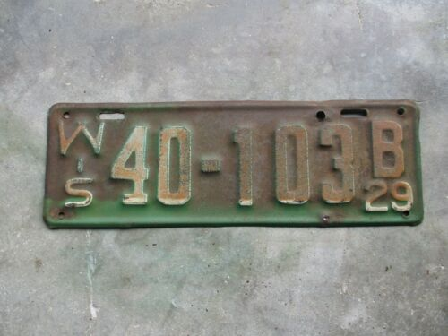 Wisconsin 1929 license plate #    40 - 103