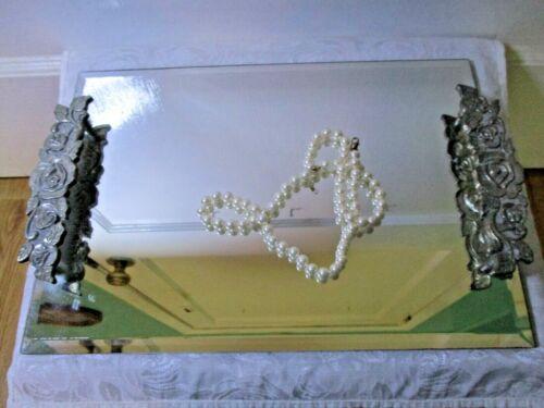 Vintage Vanity Dresser Mirror Tray With Floral Silver/Metal Handles