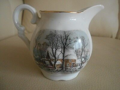 Vintage AVON 'High Achiever' Award China Pitcher, Signed, Mint, Snow Home Scenes