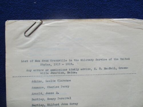 1917-1919  (86 family names of men) Enlisted from Greenville,Maine letter lot!!!