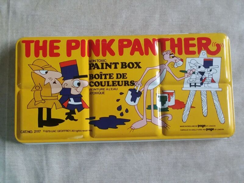 Vintage, The Pink Panther Paint Box, Made In England by Page of London