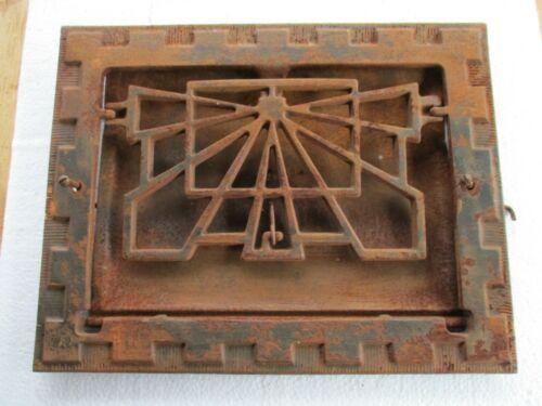"""Antique Symonds Louvered Cast Iron Heat Register Grate 10-5/8""""x 13-1/2"""" Art Deco"""