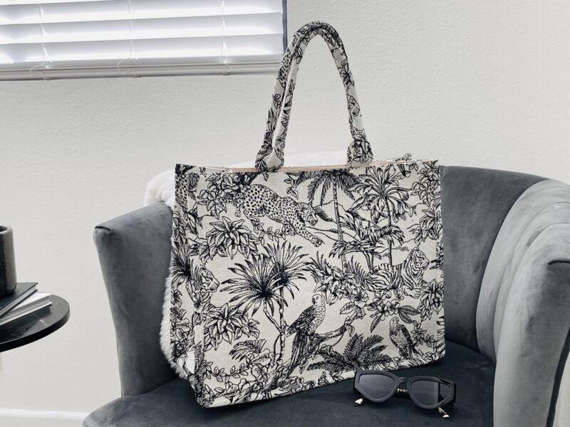 H&M Fabric Jacquard Weave Tote Bag Book Tote Fabric Tote Handbag