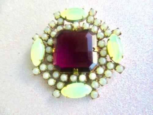XL MAGNIFICENT Czech Glass Rhinestone Button With Vaseline Uranium and a Purple