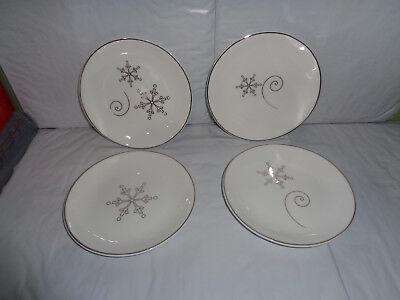 - (4) Marigold - Holiday Snowflake - Appetizer / Dessert Plates - 6