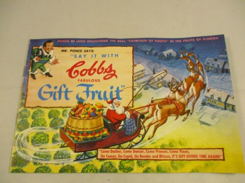 Cobbs 1953 Christmas Fabulous Gift Fruit Advertising Fruit Book