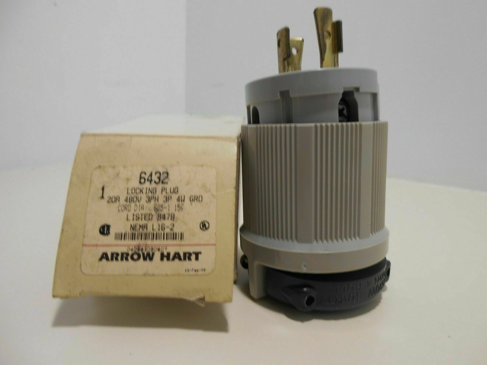 Arrow Hart 6432 Locking Plug 20 Amp 480 Volt 3 Phase 3 Pole 4 Wire