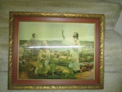 "Christ And The Children 3D Lentograph :Picture 19 & 1/2""x 15 & 1/2"""