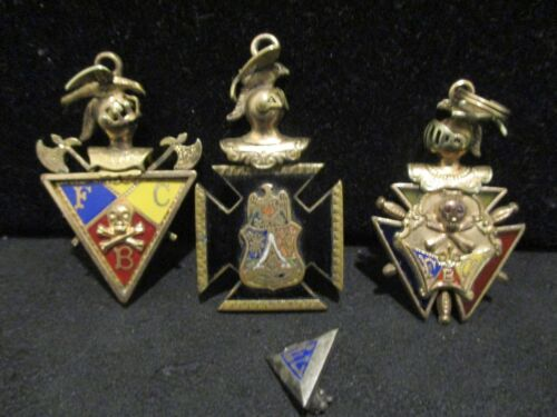 (3) Nights of Pythias FCB Fraternal Medal Jewel Badges & 1 Pin - Used