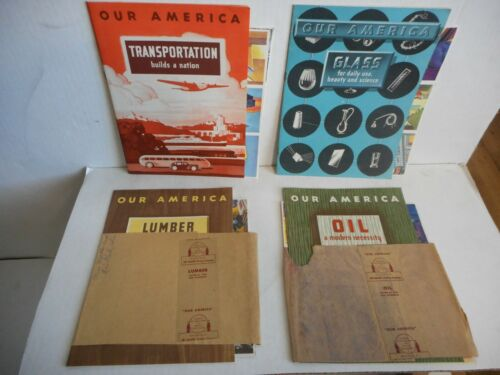 1943 Coca Cola Our America Stamp Books W/ Stamps Glass, Lumber, Oil + All Unused