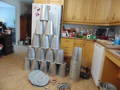 12 maple syrup aluminium sap buckets plus 12 lids covers + 12 taps spiles spouts