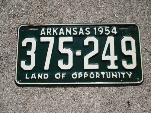 Arkansas 1954 license plate # 375 - 249