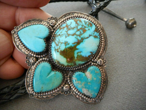 Southwestern Indian Navajo Turquoise & Heart Turquoise Sterling Silver Bolo Tie
