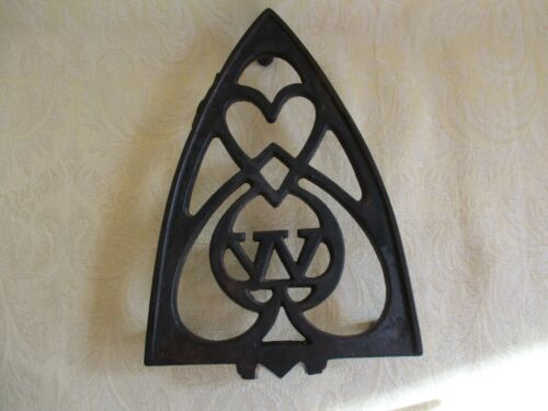 Antique Cast Iron Footed Sad/Clothes Iron Trivet Stand Marked W