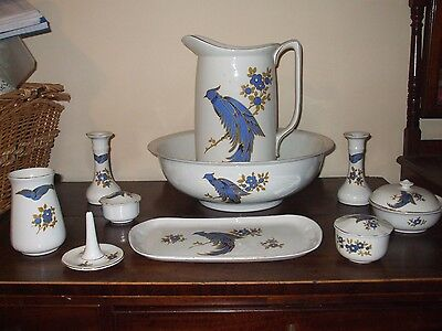 Period China Jug and bowl Dressing table Set 10 peices