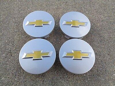 "Chevy Center Caps Set 4 2.25"" 58mm Silver Chevrolet wheel rim insert hub cover"