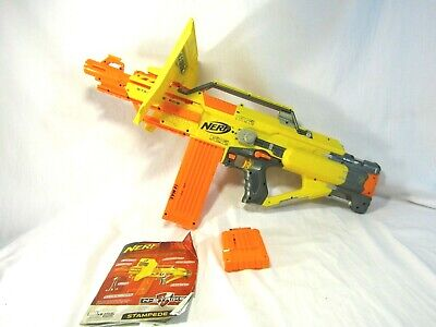 Nerf N-Strike Stampede ECS Blaster Automatic Blaster 2 Ammo Clips/TESTED & Works