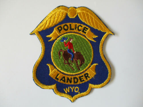 vintage 1970s Lander Wyoming USA Made Cut Edge Twill Police Patch