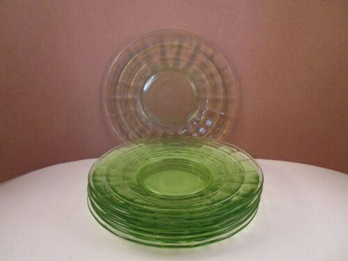 Vintage Anchor Hocking Green Glass Block Optic Set of 6 Bread Plates