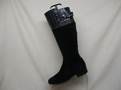 Marc Fisher Black Suede Leather Side Zip Buckle Knee High Fashion Boots Size 7.5 ()