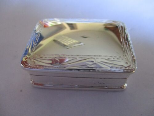 Sterling Silver Pill box Rectangle shape solid 925 silver Hallmarked Engraved