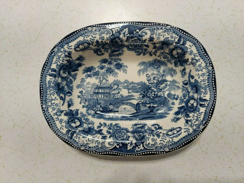 VINTAGE ENGLISH ROYAL STAFFORDSHIRE CLARICE CLIFF TONQUIN BLUE SERVING BOWL