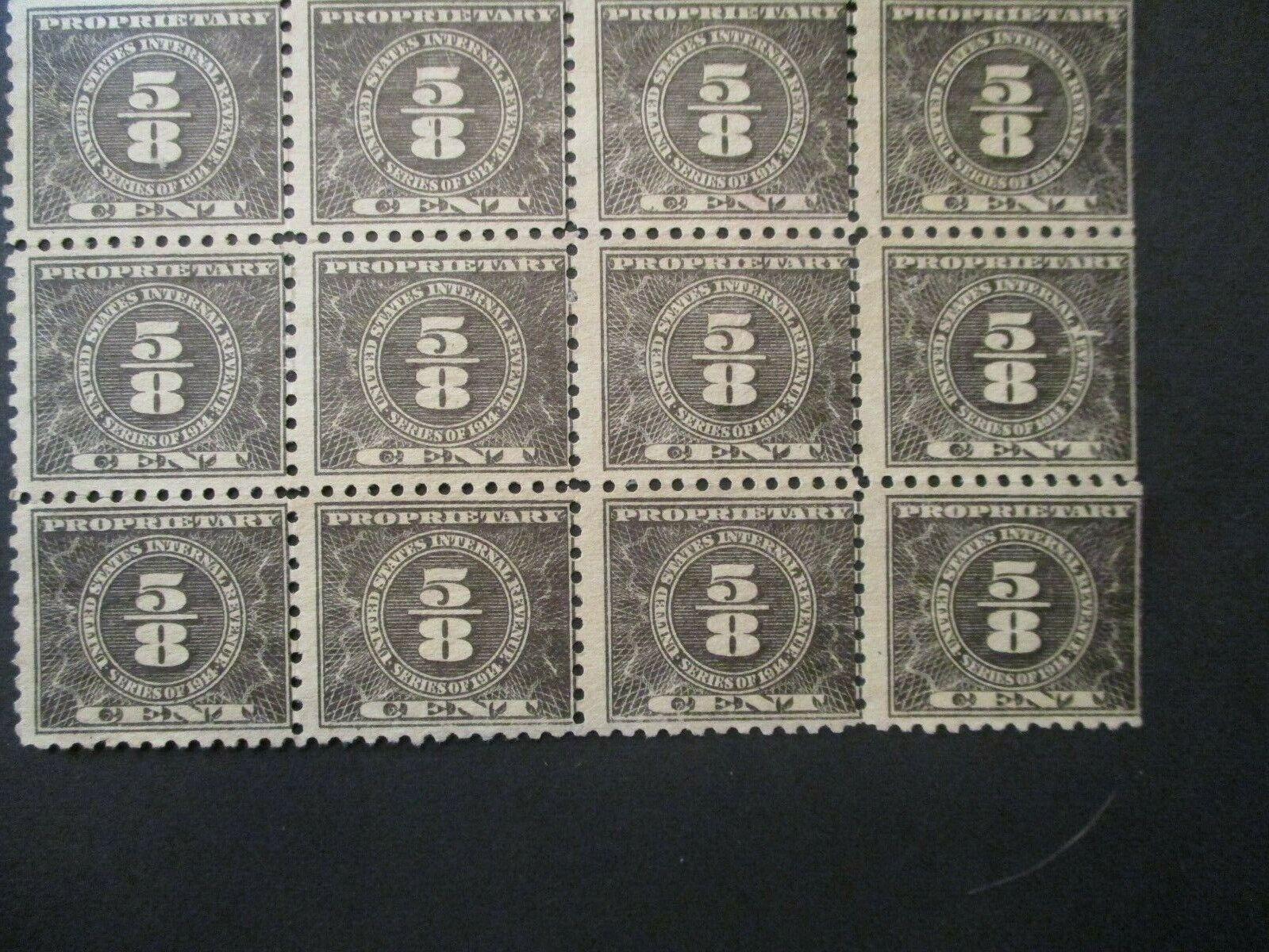 1914 1/8c Blk, Offset, Dl Wmk, Perf 10 S RB48 Block Of 12v Mint NG - $0.01