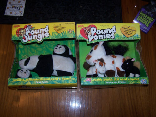 POUND JUNGLE PANDA POUND PONIES NEW IN BOX VINTAGE RARE LOT OF 2 PLUSH
