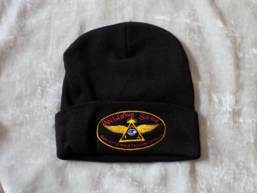 Masonic Widows Sons Stocking Hat Knit Cap Black Patch Warm Winter NEW!