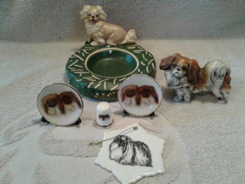 6 Porcelain Pekingese Figurines 1 Ashtray, 2 Mini Plates, Thimble, Ornament, Dog