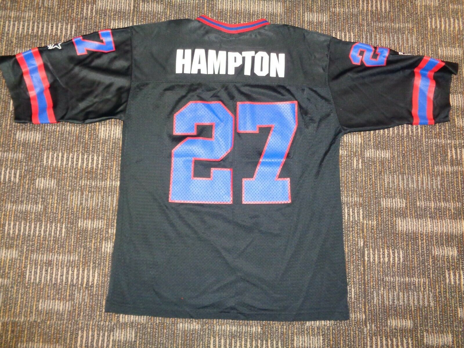 RODNEY HAMPTON 27 NY NEW YORK GIANTS STARTER BLACK NFL GAME FOOTBALL JERSEY LG - $29.99
