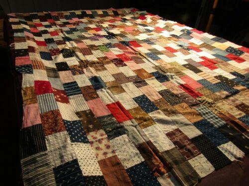 "Antique/Vintage 19th Century BRICK WALL Quilt Top 84"" x 61"" Cotton Fabrics RARE!"