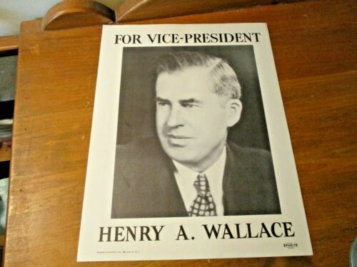 VINTAGE VICE-PRESIDENT HENRY A WALLACE POSTER Sweeney Litho Co.