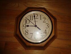 Vintage Sunbeam Wood Octagon Shape Quartz Wall Clock -- Made in USA