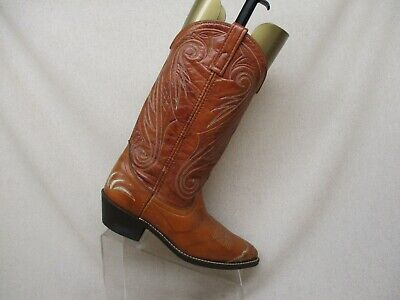 Acme Brown Leather Wing Tip Cowboy Western Boots Mens Size 9 D Style 4599 USA