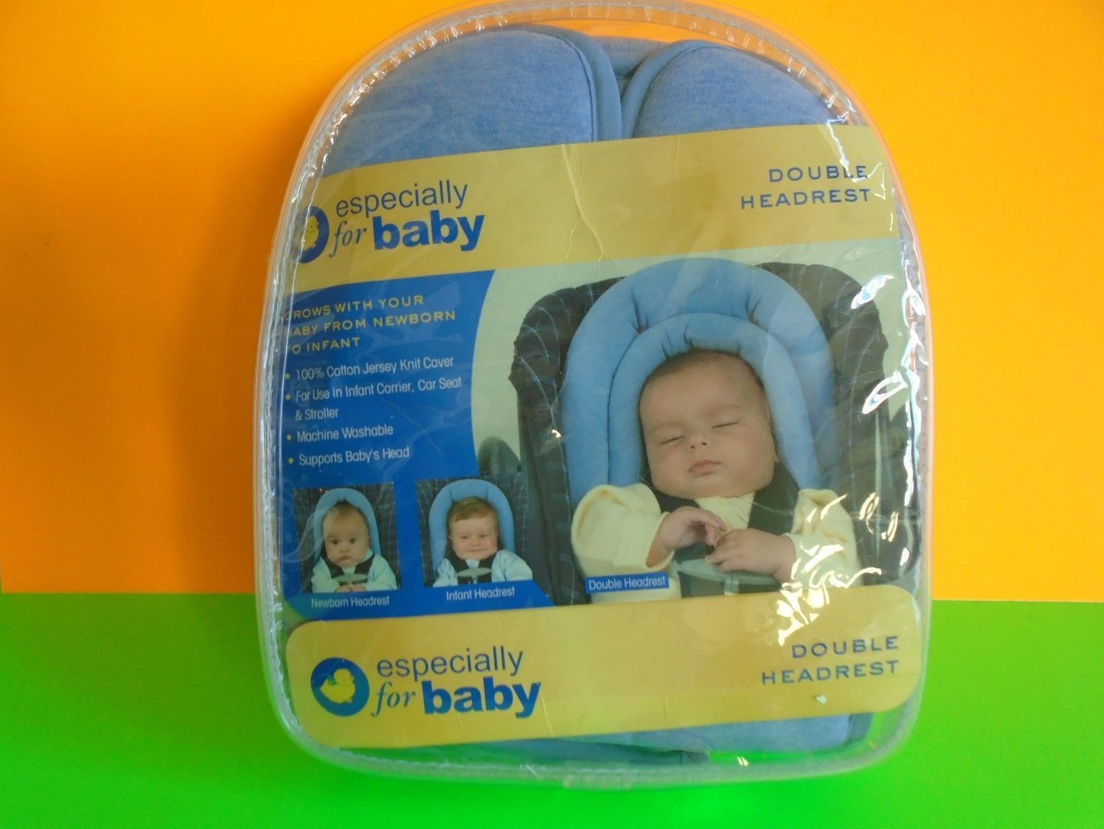 ESPECIALLY FOR BABY NEWBORN INFANT BLUE DOUBLE HEADREST STROLLER CAR NEW/SEALED - $10.99