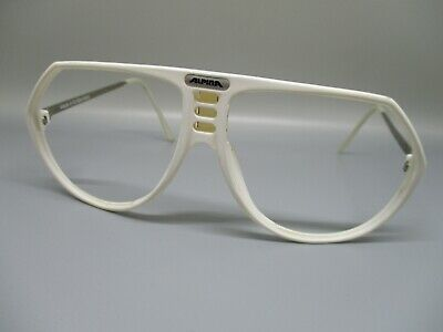 Alpina Swift authentic white plastic silver sunglasses eyeglasses frames 58 (White Eyeglass Frames For Men)