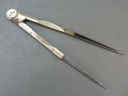 """Vintage ornate 5 1/2"""" nickel & steel dividers old tool"""