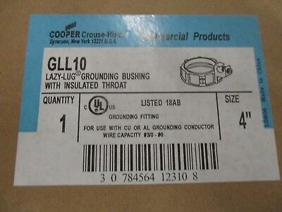 Crouse Hinds Gll10 4 Malleable Insulated Throat Grounded Bushing- New