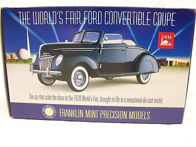 Franklin Mint 1939 Ford Custom Convertible 1:24 Scale Diecast Model Car MIB