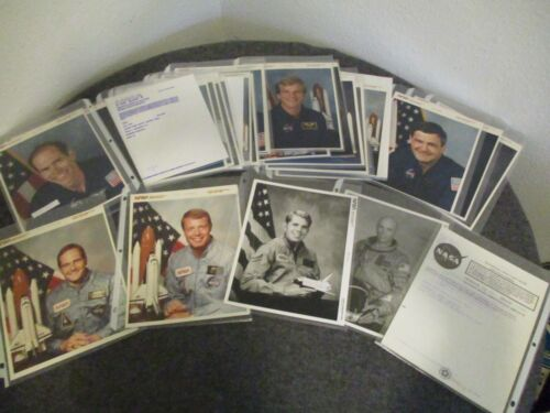 NASA ASTRONAUT SHUTTLE LOT (57) PHOTOS RED/ BLUE/ BLACK SERIAL NUMBERS-1976-1992