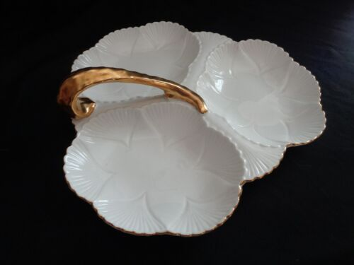Shelley Made In England White And Gold Three Section Relish/Nut Dish