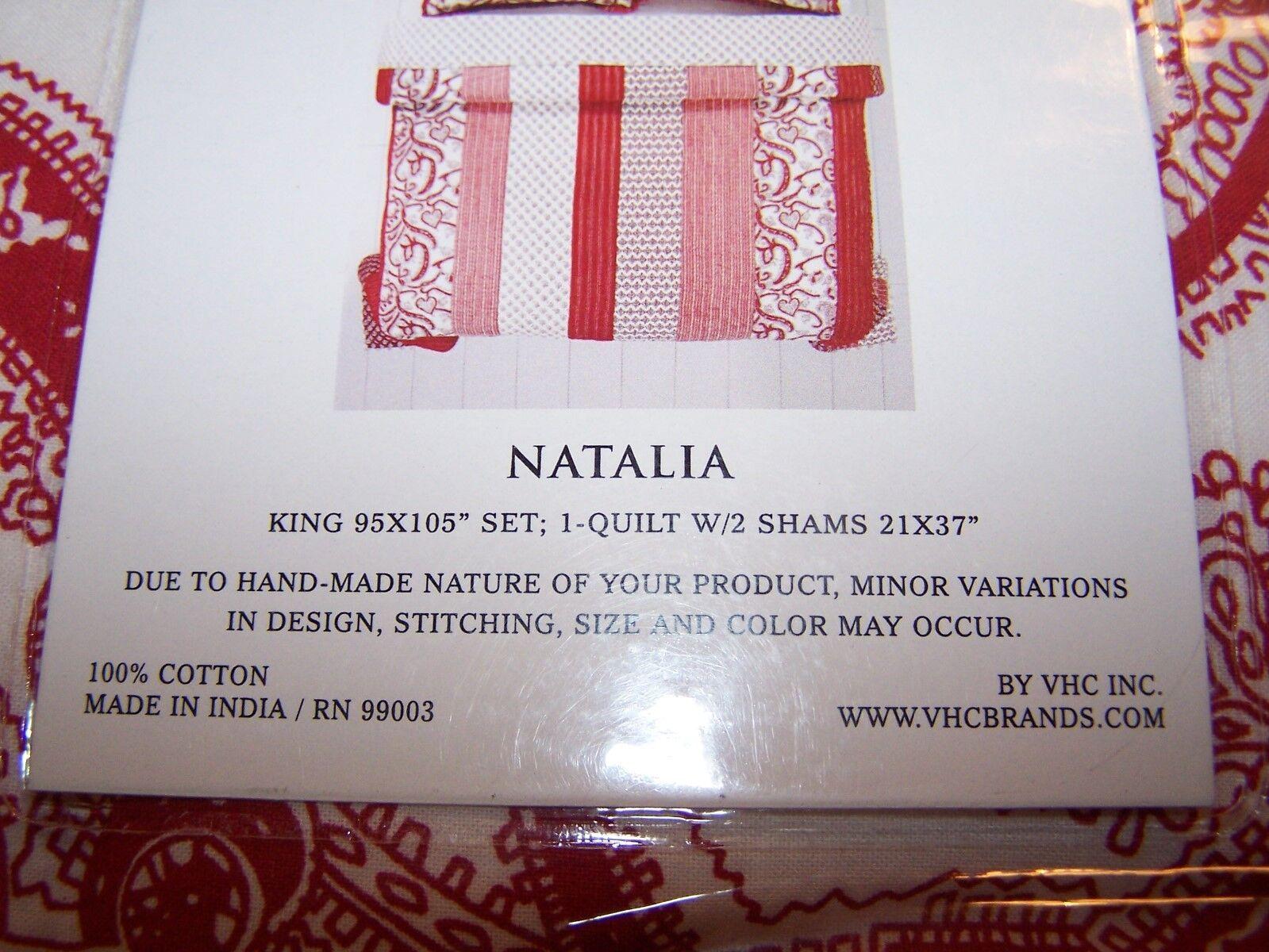 King Size Quilt Set~VHC Brands 3 Piece Set ~NATALIA~ Red Whi