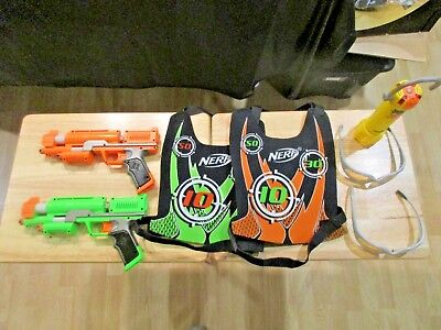 Nerf Dart Tag Capture The Flag 2 vests, 2 guns, Flash Marker, 2 pair of glasses  for sale  Madison