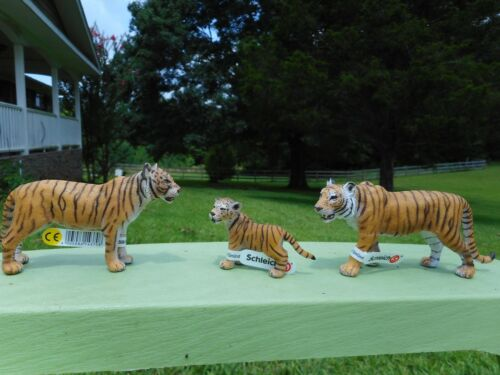 ORANGE TIGER FAMILY by Schleich; toy/tigers/14370/14369/14371/RETIRED