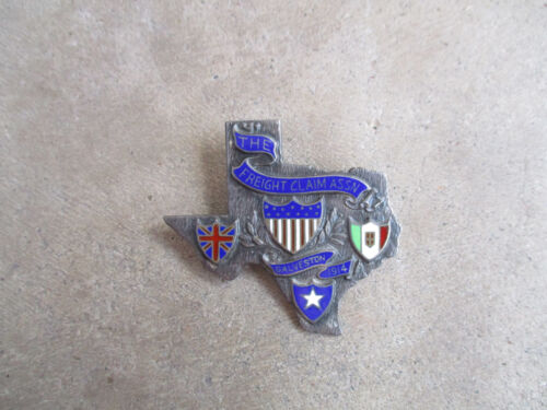 antique Texas Freight Claim Association Sterling Membership Badge Pin